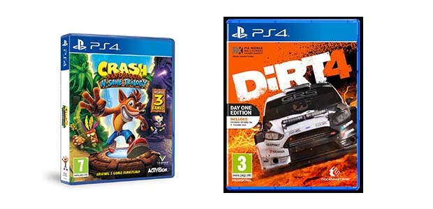 PS4 Crash Bandicoot N Sane Trilogy ja PS3 Dirt 4 DayOne Edition